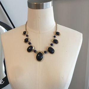Jewelry - Fashion Necklace - Navy Stones inlaid in Gold